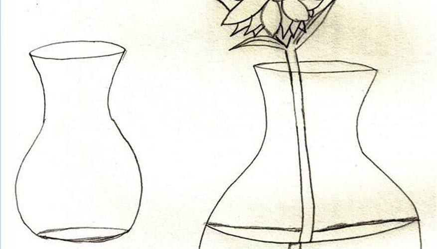 Cómo dibujar flores en un florero