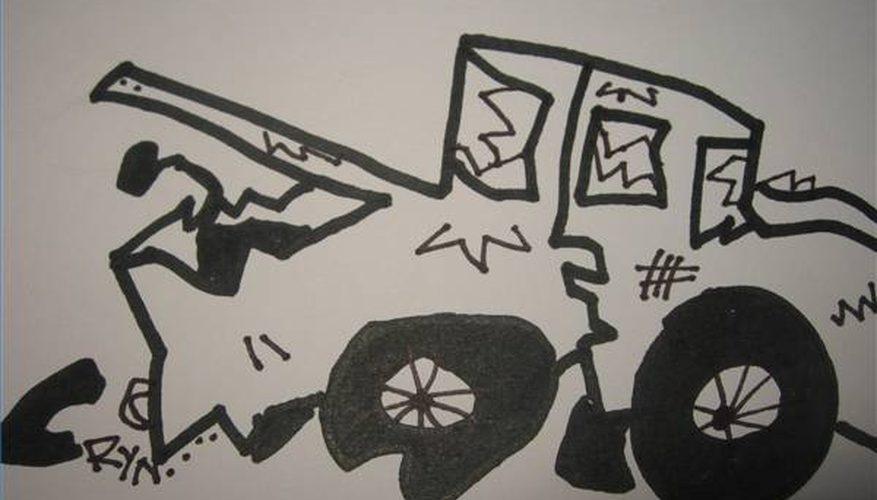 Cómo Dibujar un Coche Destrozado