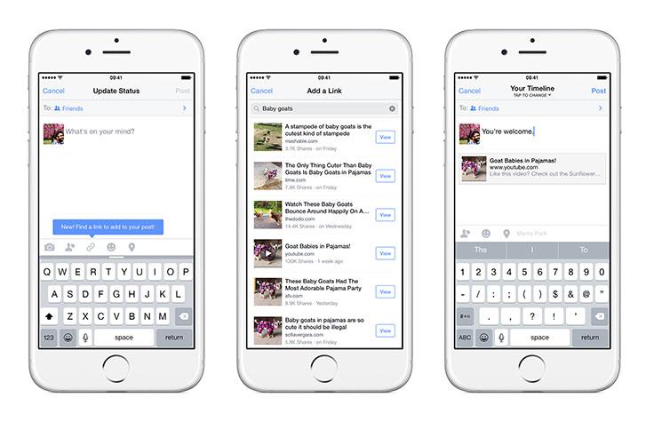 Nueva función para compartir enlaces de Facebook
