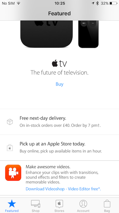 Videoshop en la aplicación Apple Store