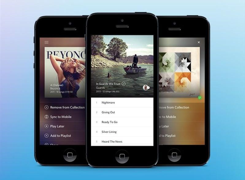 La aplicación Rdio en iPhone