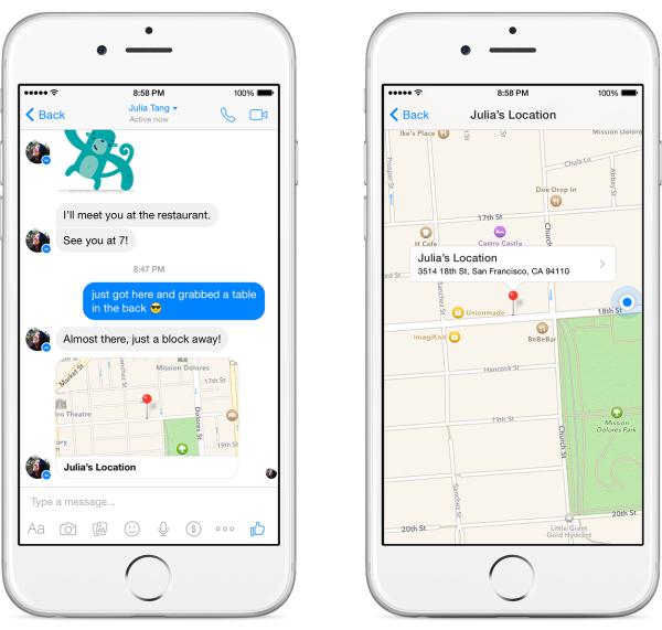 Compartir ubicación en Facebook Messenger
