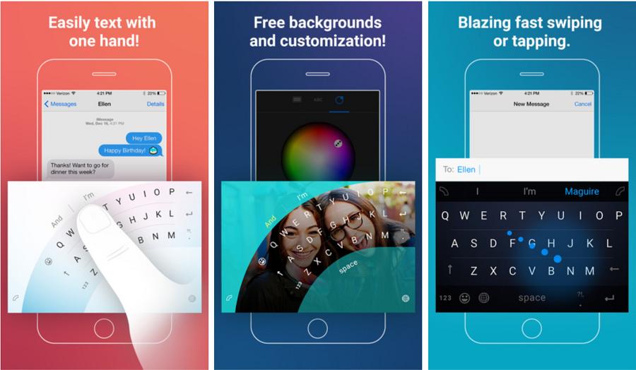 Capturas de pantalla del iPhone del teclado Microsoft Word Flow