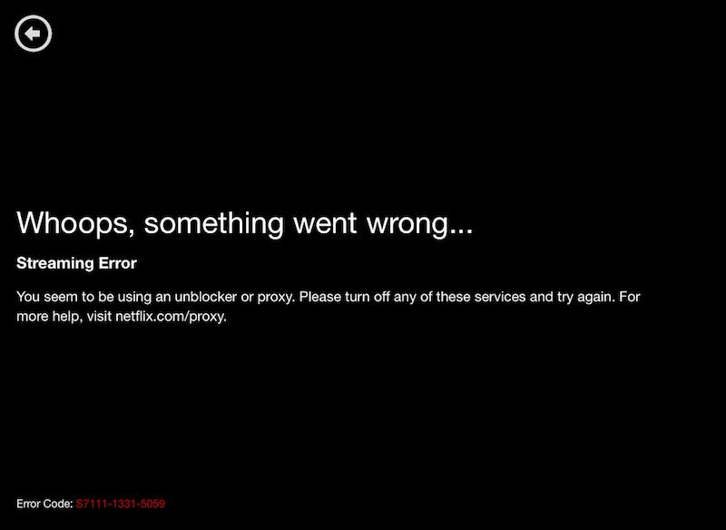 Error de proxy de Netflix