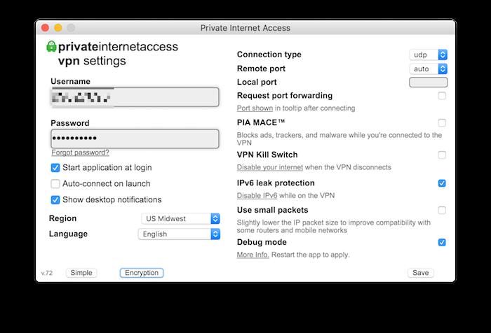 Aplicación Mac de acceso privado a Internet 2