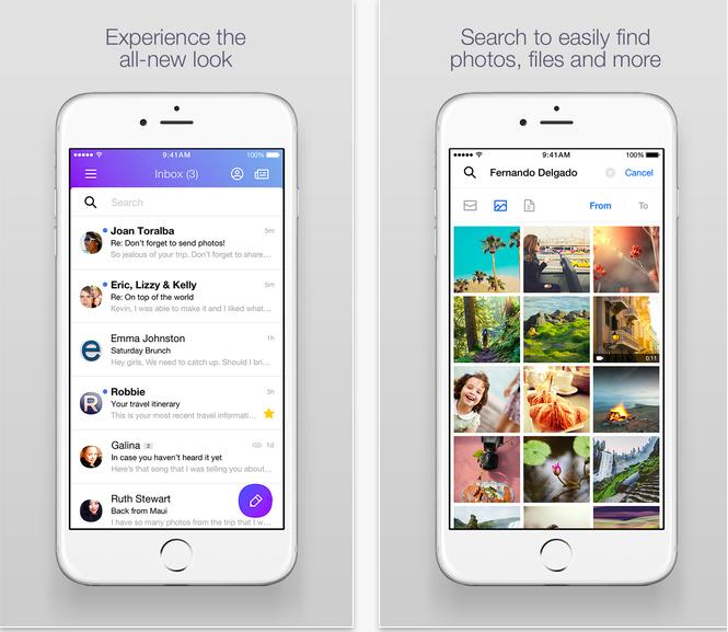 Aplicación Yahoo Mail para iOS