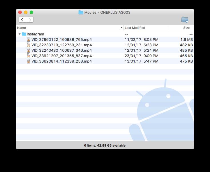 transferencia de archivos android