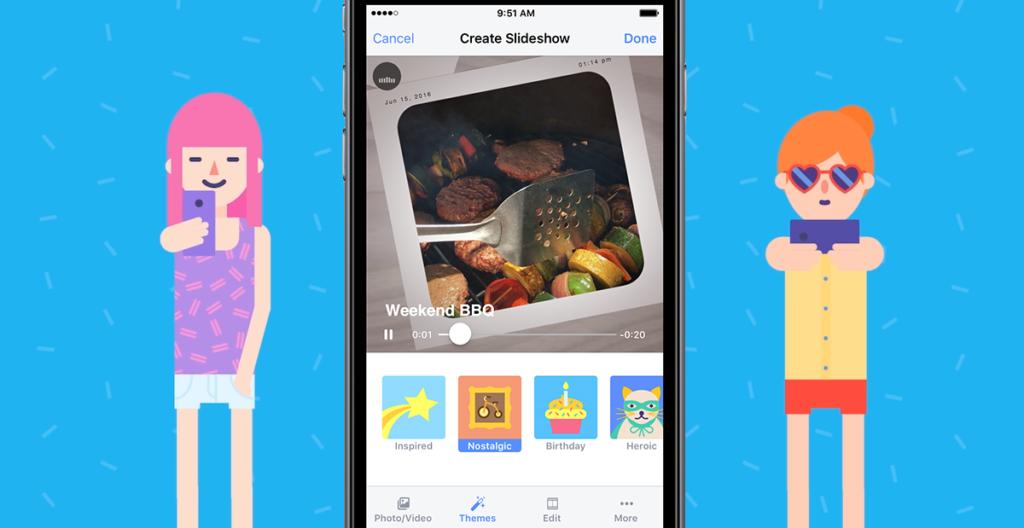 Presentación de diapositivas de Facebook en iOS