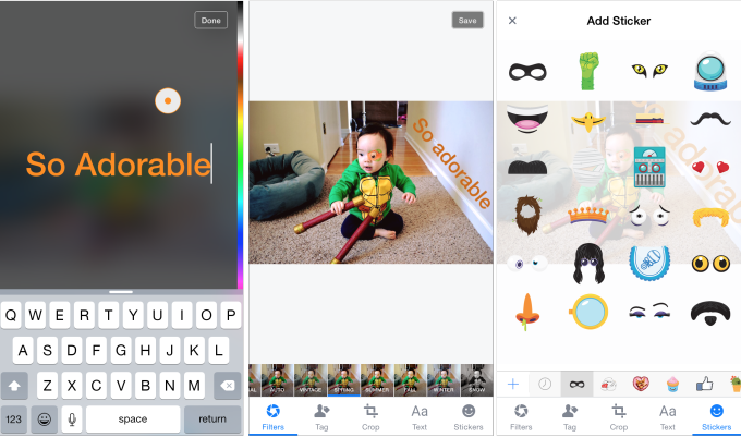 Pegatinas de fotos de Facebook en iOS
