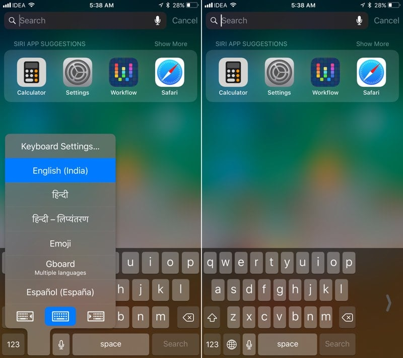 Teclado de una mano iOS 11