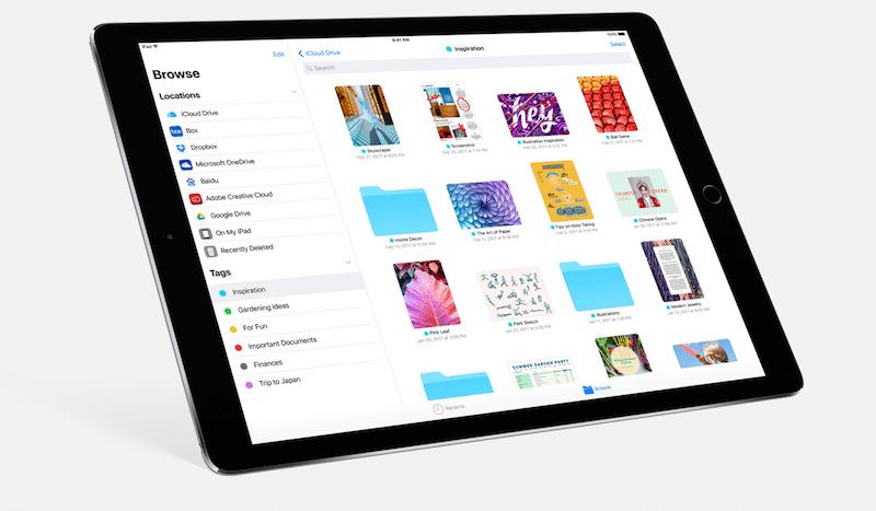 Aplicación de archivos para iPad iOS 11