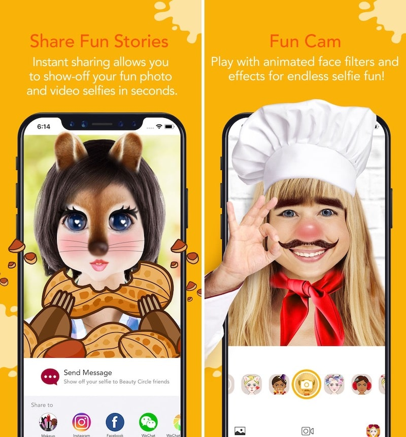 Aplicaciones de filtro divertidas para iPhone YouCam Fun