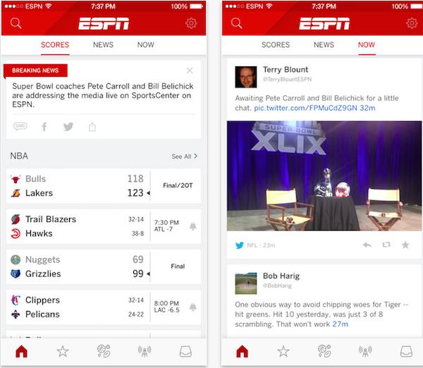 Aplicación de imágenes ESPN