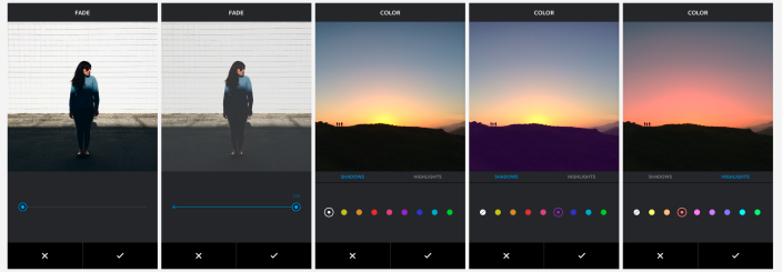 Imagen de las herramientas de color y desvanecimiento de Instagram
