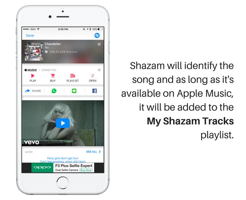 shazam agrega automáticamente 3 canciones
