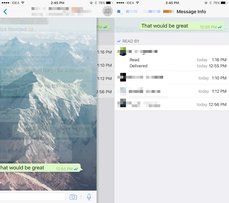 Cuando está en una conversación, WhatsApp muestra estas dos marcas de verificación azules para indicar que su mensaje ha sido leído.  Pero, ¿y si quieres más detalles?  Como cuando se entregó y cuando se leyó.