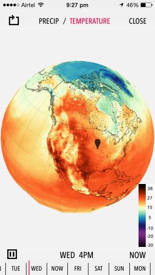 Dark Sky puede mostrarle las condiciones de precipitación y temperatura regionales y globales