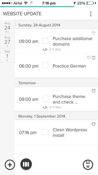 Gneo ofrece 3 vistas para permitirle evaluar el horario de su día, incluida esta vista de pronóstico