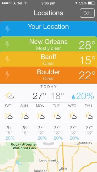 Perfect Weather hace un buen trabajo al administrar múltiples ubicaciones a la vez