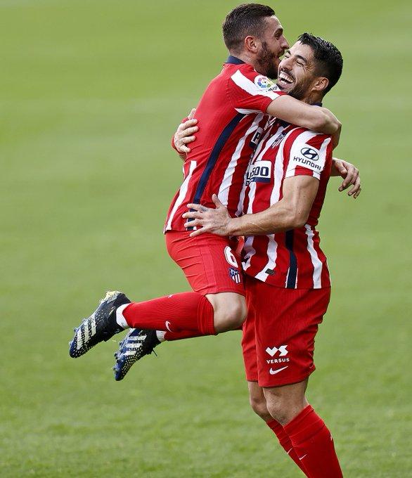 Luis Suárez y Koke del Atlético de Madrid