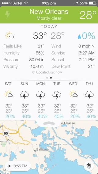 Vea información meteorológica detallada, pronóstico de 7 días y visualización de mapas meteorológicos en una pantalla con Perfect Weather