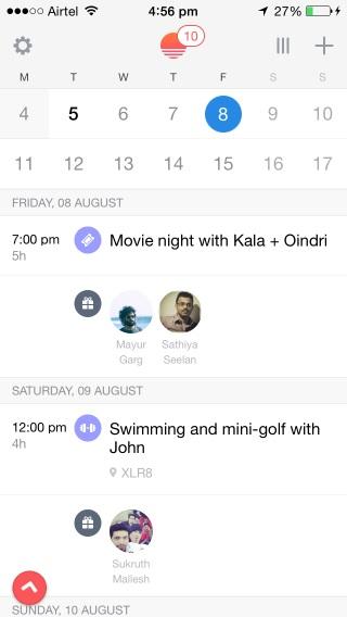 Sunrise Calendar agrega íconos de contacto e imágenes para escanear fácilmente su agenda