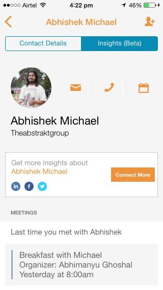 La pestaña Insights le muestra información útil sobre los contactos con los que tiene eventos