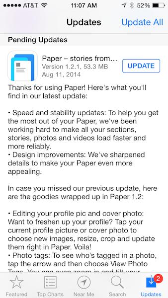 Actualización de la aplicación Facebook Paper
