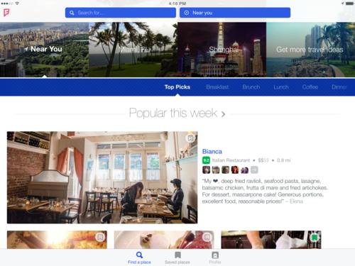 Imagen de iPad de Foursquare