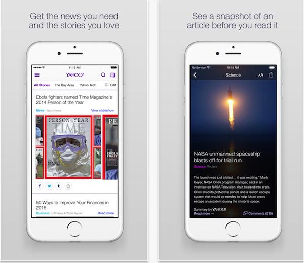 imagen Yahoo!  Aplicación iOS
