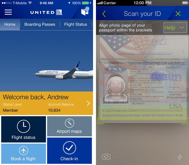 Escaneo de pasaportes de United Airlines